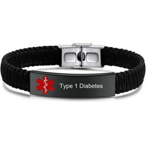 Type 1 Diabetes Medical ID Alert Nylon Bracelet